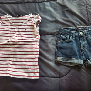 girls 3t tommy hilfiger shirt denim shorts